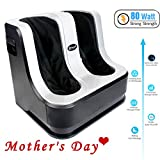 77tech Electric Shiatsu Foot and Calf Leg Massager Machine with Heat,Kneading, Rolling and Relaxation Vibration Functions for Pain Relief,80 W, 4 Motors,Gray/Black