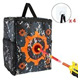 Elongdi Target Pouch with 4 Nail Free Hooks Target Toys, Target Bag Storage Carry Target Equipment Bag for Nerf N-strike Elite, Mega and Rival Series