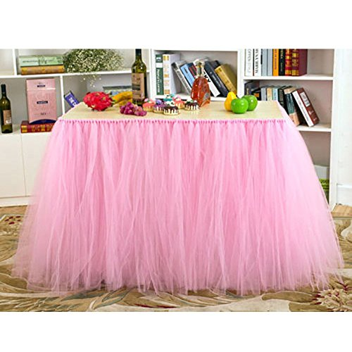 AerWo Tutu Table Skirts Tulle Queen Snowflake Wonderland Tutu Table Cloth for Girl Princess