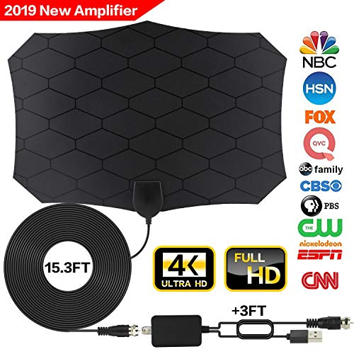 Tv Antenna,[2019 Latest] Amplified HD Digital TV Antenna Long 120 Miles Range Support 4K 1080p & All Older TV's Indoor Powerful HDTV Amplifier Signal Booster - Coax Cable/USB Power Adapter