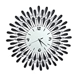 GOTOTOP Diamond Wall Clock, Modern Art Large Metal Wall Clock, Starburst Decorative Silver Wall Clock Home Decor for Living Room Bedroom (GTT-3)