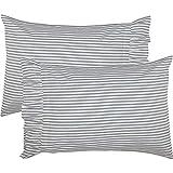 VHC Brands Farmhouse Bedding Sawyer Mill Ticking Cotton Striped Standard Pillow Case Set of 2 Blue Denim
