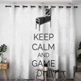 Kids Curtains,Keep Calm Pinball Machine Arcade Room Concept Keep Calm and Game On Fun Entertainment,Space Decorations,W120x96L Black White