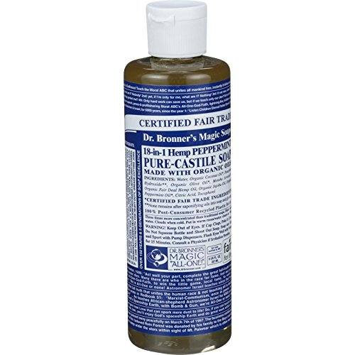 Dr. Bronner s Pure Castile Soap - Fair Trade and Organic - Liquid - 18 in 1 Hemp - Peppermint - 8 oz