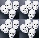 Lot of 48 MASKS White Plastic Full Face Decorating Craft Halloween School