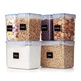 Vtopmart Airtight Food Storage Containers 6 Pieces - Plastic PBA Free Kitchen Pantry Storage Containers for Sugar,Flour and Baking Supplies - Dishwasher Safe - 24 Free Labels and 1 Marker