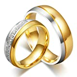 Hers & Women's Ring For Love Titanium 18K Gold-Plated Wedding Engagement Band 6mm US Size 7