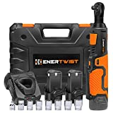 "Enertwist 12V Cordless 3/8"" Electric Ratchet Wrench Set - 35 ft-Lbs 400 RPM Power Ratchet Tool w/Variable Speed Trigger, Includes 2 2.0Ah Lithium-Ion Batteries and Fast Charger, ET-RW-12"