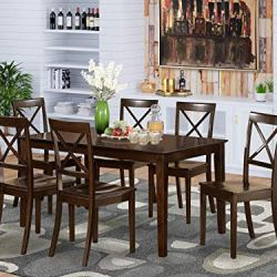 East West Furniture Dining Set 7 Pc – Wooden Modern Dining Chairs Seat – Cappuccino Finish Small Rectangular Dining…