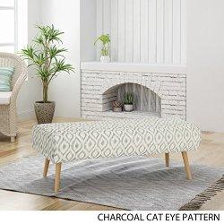 Christopher Knight Home Petty Mid Century Boho Fabric Ottoman, Charcoal Cat Eye Pattern