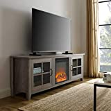 WE Furniture Fireplace TV Stand, 70', Grey Wash
