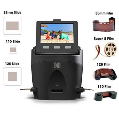 KODAK-SCANZA-Digital-Film-Slide-Scanner-Converts-35mm-126-110-Super-8-8mm-Film-Negatives-Slides-to-JPEG-Includes-Large-Tilt-Up-35-LCD-Easy-Load-Film-Inserts-Adapters-More