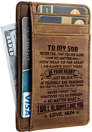 NapaWalli Wife To Husband Father Mother to Son Gift Best Anniversary Christmas Birthday Gifts Slim Wallet (Mother to Son CH khaki)