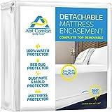 Abit Comfort mattress cover, deep size mattress encasement detachable top, waterproof, bed bug protector, hypoallergenic, easy to install 360˚ zipper mattress protector, queen size 13' deep