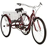 Single Speed 26' Schwinn Meridian Adult Tricycle with Adjustable Seat and Handlebars,easy Low Stand-over/step-through Aluminum Frame, Rear Folding Basket Safely Stores Belongings in Cherry Color