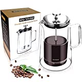 French Press Coffee Maker, Double Wall Vacuum Insulated Thermal Borosilicate Glass, 4 Level Filtration System with No Grounds, 34 Oz, 1000ML