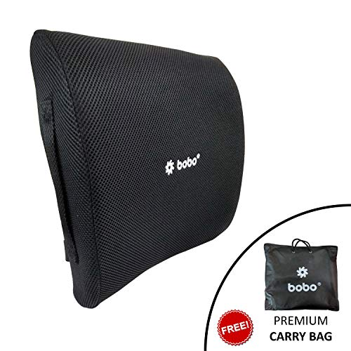 Improves Posture 100/% Pure Memory Foam Fits Most Seats Ergonomic Lumbar Support Pillow,Back Cushion Balanced Firmness Designed Helps Relieve Lower Back Pain Black