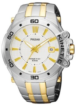 Pulsar Men's PAR147 Kinetic Two-Tone Stainless-Steel Bracelet Two-Tone Case Silver-Tone Dial Transparent Case Back Watch