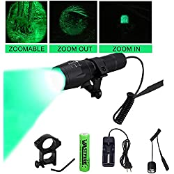 VASTFIRE 350 Yard Zoomable CREE Green Flashlight Predator Varmint Hog Light with Remote Pressure Switch Rechargeable Batteries and Charger, Gift Box Packaging