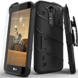 LG K7 / LG Tribute 5 LS675 / LG Escape 3 Case, Zizo Bolt Cover [.33m 9H Curved Full Glass Tempered Screen Protector] Included [Military Grade] Clip