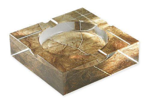 Quality Importers CA-4C-TL Tobacco Leaf Print Crystal Ashtray for 4 Cigars