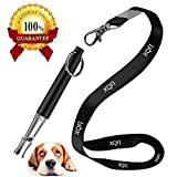 XQFI Dog Whistle, Professional Dog Training Whistle to Stop Barking,Professional Ultrasonic Adjustable High Pitch Ultra-Sonic Sound Tool with Free Premium Quality Lanyard Strap (Black)