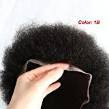 Lumeng Afro Toupee for Black Men Human Hair All Transparent Lace Man Weave Balding Mens Custom Hair Unit 8x10inch Male Hair Replacement with Weaves 120% Medium Density 1B Off Black