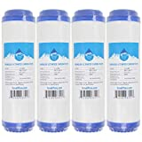 4-Pack Replacement for WaterPur CCI-10-CLW Granular Activated Carbon Filter - Universal 10-inch Cartridge for WaterPur Clear Water Filter Housing - Denali Pure Brand