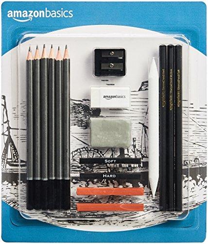 AmazonBasics Sketch and Drawing Pencil Set - 17-Piece Set