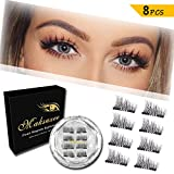 Maksuzee Magnet Eyelashes Dual Magnetic Half Eye False Eyelashes with no Glue,Fake Lashes Extension for Natural Look 8 Pieces /2 Pair