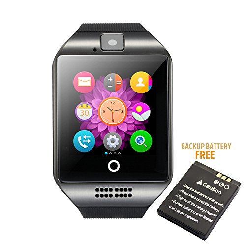 Bluetooth Smart Watch Phone Mobile Phone Unlocked Universal GSM Bluetooth 4.0 NFC Music Player Camera Calendar Stopwatch Sync for Android iPhone Google Huawei Smartphones Plus Backup Battery (Gary)