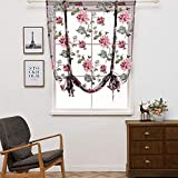 Gotian Rod Liftable Kitchen Bathroom Window Roman Curtain Floral Sheer Voile - Cafe, Balcony, Living Room, Bathroom, Bedroom, Kitchen - Valances, Flower, Room Deco (M)