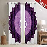 Flyerer Chakra, Room Darkening Wide Curtains, Circular Lace Like Point Form with Arabic Lettering The in Node Centre Meditation Image, Decor Curtains by, W108 x L108 Inch Purple