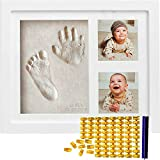 Baby Handprint Kit & Footprint Kit (FREE Date & Name Stamp) Clay Hand Print Picture Frame for Newborn - Best New Mom Gift - Foot Impression Photo Keepsake for Girls and Boys - White Feet Imprint Mold