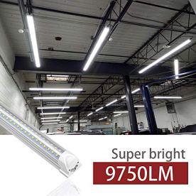 Kihung-8ft-LED-Shop-Light-Fixture-V-Shape-T8-Integrated-Tube-Light-6000K-Super-Bright-White-9750LM-75W-Linkable-Strip-Lights-for-Garage-Workshop-Basement-Plug-and-Play-Clear-Lens-8-Pack