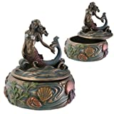 Riding Wave Mermaid Fantasy Art Nouveau Jewelry Box with Kelp and Sea Creature Display Decoration, 3 Inches