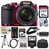Nikon Coolpix B500 Wi-Fi Digital Camera (Red) with 64GB Card + Case + Flash + Batteries & Charger + Tripod + Strap + Kit