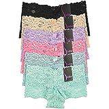 Mamia Women's Sexy Lace Hiphugging Boyshort or Bikini Panties 6pk-Small-Sofra Pastel Rainbow