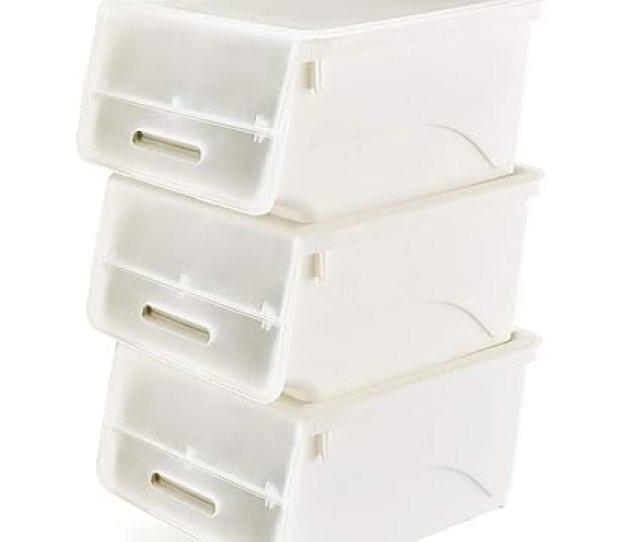 Stackable Storage Bins With Lids 3 Pack Ezoware Plastic Stackable Storage Cubes