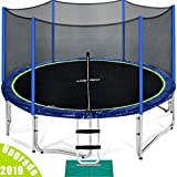 Zupapa 15 14 12 Ft TUV Approved Trampoline with Enclosure Net and Pole and Safety Pad and Ladder and Jumping Mat and Rain Cover 108 Springs Size 15 Feet