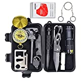 Eachway Professional 11 in 1 Emergency Survival Gear Kit Outdoor Survival Tool with Fire Starter Compass Whistle Survival Knife Flashlight Tactical Pen etc for Outdoor Travel Hike Field Camp