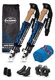 Equipeak Collapsible Folding Hiking & Trekking Sticks - 2 Aluminum Walking Poles with Real Cork & EVA Handle Grip Set - Ultra Strong Locking - for Men & Women (Blue, S (5'0' - 5'8'))
