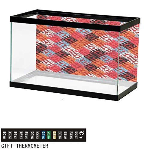 bybyhome Fish Tank Backdrop Ikat,Grunge Ikat Patterns,Aquarium Background,24' L X 16' H(61x41cm) Thermometer Sticker