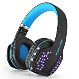 Bluetooth Headphones with Mic, Beexcellent Q2 Foldable Noise Cancelling Over-Ear Headset for iPhone iPad Android Smartphone PS4 PSP PC Laptop Mobile Game Music Enhanced Bass (Black Blue)