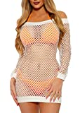 Nihsatin Women's Elastic Fishnet Lingerie Mesh Badydoll Mini Dress Clubwear Sleepwear Nightgown White