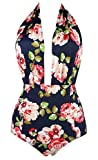 COCOSHIP Pink Rose Floral & Green Leaves Retro One Piece Backless Bather Swimsuit Pin Up Swimwear Beachwear M(FBA)