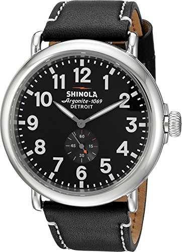 51pHQKbRoIL Express your profound fondness for crafsmanship and excellence when you wear the outstanding Shinola Detroit® Runwell watch. Polished stainless steel case. Adjustable black leather strap with contrast stitching.