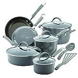 Rachael Ray Cucina Hard Porcelain Enamel Nonstick Cookware Set, 12-Piece, Sea Salt Gray