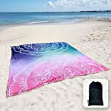 Sunlit Silky Soft Sand Proof Beach Blanket Sand Proof Mat with Corner Pockets and Mesh Bag 6' x 7' for Beach Party, Travel, Camping and Outdoor Music Festival,Blue and Pink Mandala