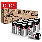 Energizer Max C Batteries, Premium Alkaline C Cell Batteries (12 Battery Count) - Packaging May Vary